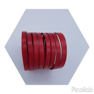 Genuine Leather Cuff in Distressed Scarlet